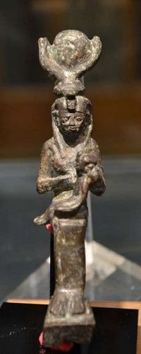 AN ANCIENT EGYPTIAN BRONZE ISIS/HORUS