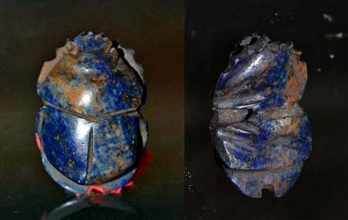 AN ANCIENT EGYPTIAN LAPIS BUTTON SCARAB