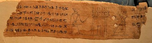 AN ANCIENT EGYPTIAN INSCRIBED LINEN FRAGMENT