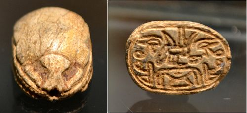 AN ANCIENT EGYPTIAN STEATITE SCARAB.