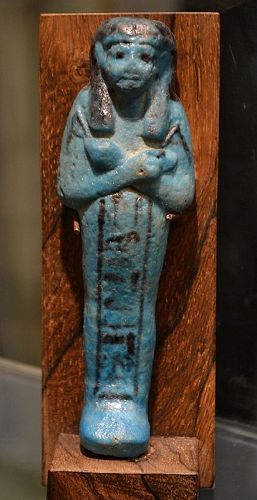 AN ANCIENT EGYPTIAN FAIENCE SHABTI FOR AMENEMHAT-PA-MESHA