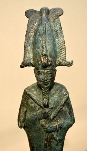 A LARGE ANCIENT EGYPTIAN BRONZE OSIRIS
