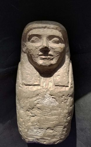 AN ANCIENT EGYPTIAN LIMESTONE FALSE CANOPIC JAR