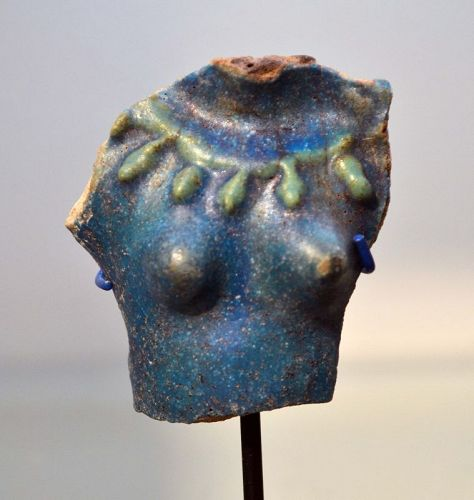 AN ANCIENT GRECO-ROMAN BLUE FAIENCE BUST