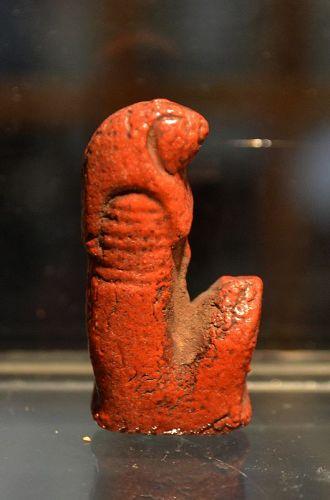 AN ANCIENT EGYPTIAN FAIENCE INLAY OF QEBEHSENUEF
