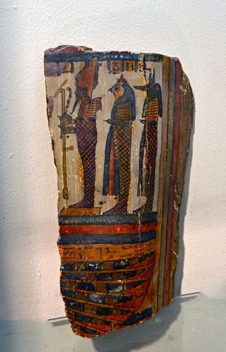 A FINE EGYPTIAN CARTONNAGE FRAGMENT FROM A SARCOPHAGUS