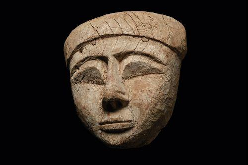 AN ANCIENT EGYPTIAN WOOD MUMMY MASK