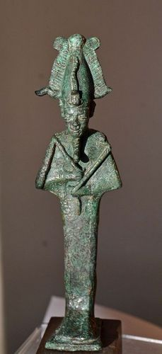 A LARGE BRONZE ANCIENT EGYPTIAN OSIRIS