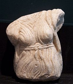 AN ANCIENT ROMAN MARBLE FEMALE TORSO