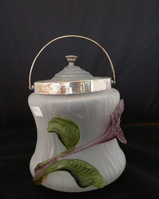 Ribbed Opaque Glass Biscuit Jar