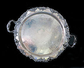 Round Silver Plate Tray with Grapes