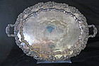 Large Footed Silver Plate Tray With Grapes