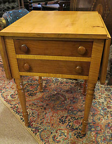 Early 19th Century Cherry and Tiger Maple Work Table
