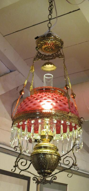 American Victorian Cranberry  Hobnail Hanging Light Fixture
