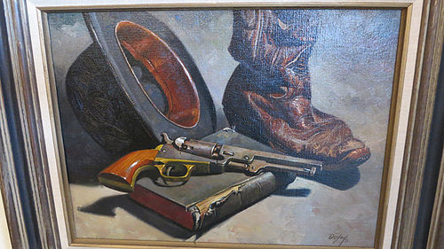 "Don Doxie Oil Painting on Canvas - ""Bible, Boot & Bowler"""