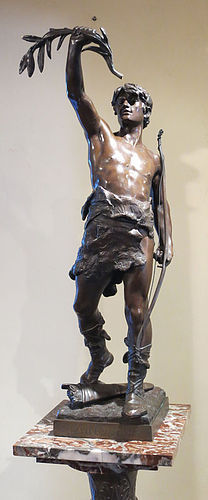 Bronze Statue on Pedestal - Eug. Marioton