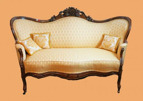 American Victorian Hand Carved Rosewood Settee