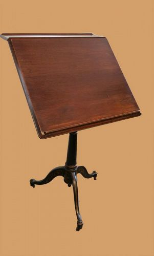 Antique Walnut and Cast Iron Drafting Table