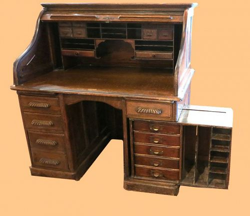 Unusual Oak S-Roll Top Desk