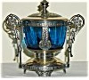 Meriden Glass & Silverplate Sugar Bowl