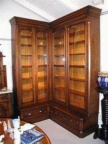 Walnut Victorian Corner Bookcase