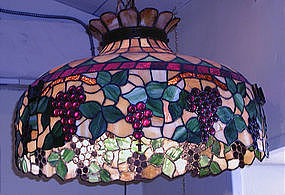 Leaded Hanging Light Fixture with Fruit