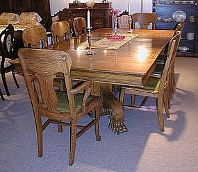 American Tiger Oak Pedestal Dining Room Table