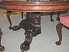 Huge American Victorian Carved Mahogany Dining Table