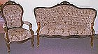 American Victorian Rosewood Chair & Settee