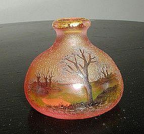 Daum Nancy Miniature Cameo Cabinet Vase