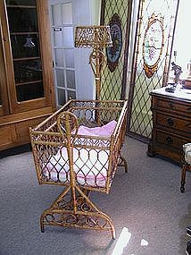 19th Century American Wicker Cradle