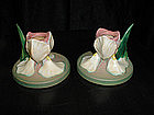 Pair Roseville Iris Candlesticks