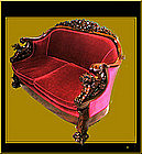 Heavily Carved American Victorian Settee and Chair