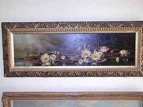 Victorian Oil on Canvas - Waterlilies