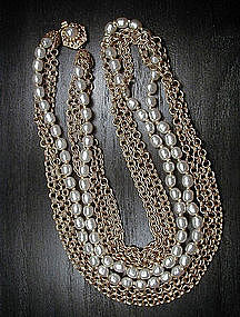 MIRIAM HASKELL PEARL AND CHAIN NECKLACE