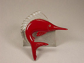 RED BAKELITE SAILFISH BROOCH