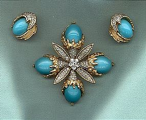 JOMAZ BROOCH AND EARRINGS