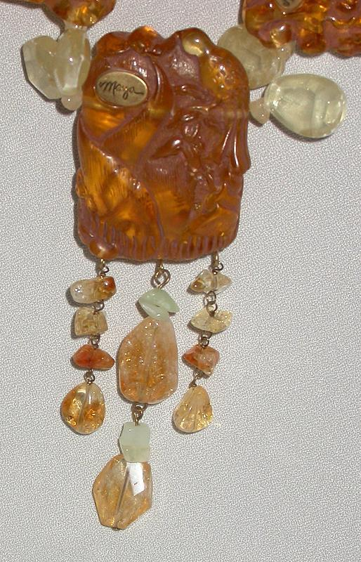 MAYA AMBER RESIN AND CITRINE NECKLACE