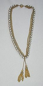 MIRIAM HASKELL NECKLACE WITH TASSELS