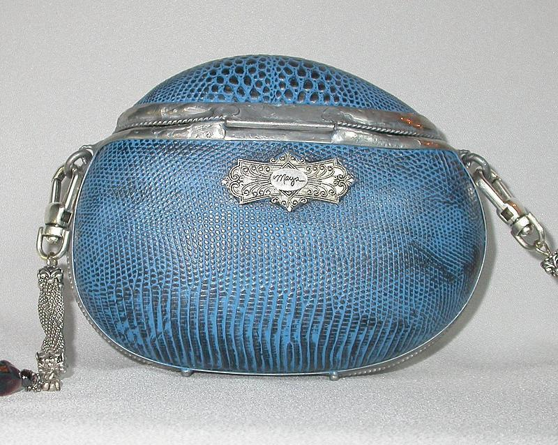 BLUE DENIM PYTHON BAG BY MAYA