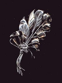 HOBE STERLING AND GOLD FLORAL BROOCH