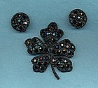 WEISS GLASS BROOCH AND EARRINGS