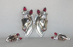 CORO HORSE HEAD STERLING DUETTE AND EARRINGS