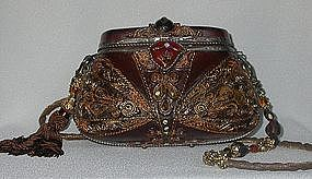 CARVED CHOCOLATE BROWN PURSE BY MAYA