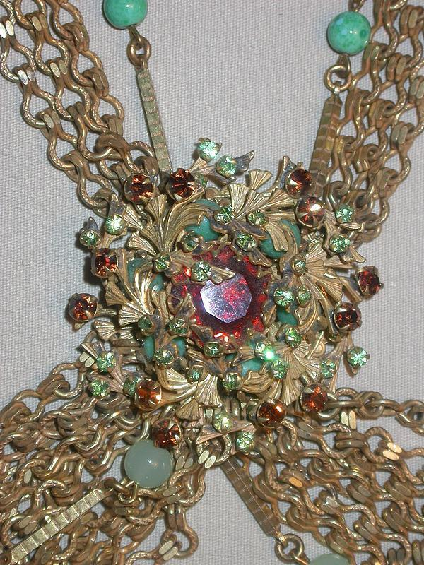 MIRIAM HASKELL MULTI-CHAINS NECKLACE AND EARRINGS