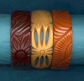 Carved Bakelite Bracelets