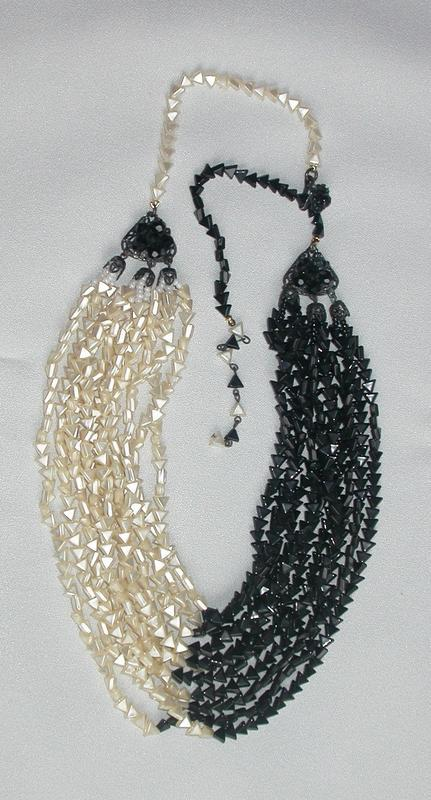 MIRIAM HASKELL MULTI-STRAND BLACK AND WHITE NECKLACE