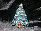 DOROTHY BAUER BLUE NAVETTE CHRISTMAS TREE PIN