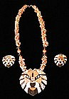 LION PENDANT NECKLACE AND EARRINGS