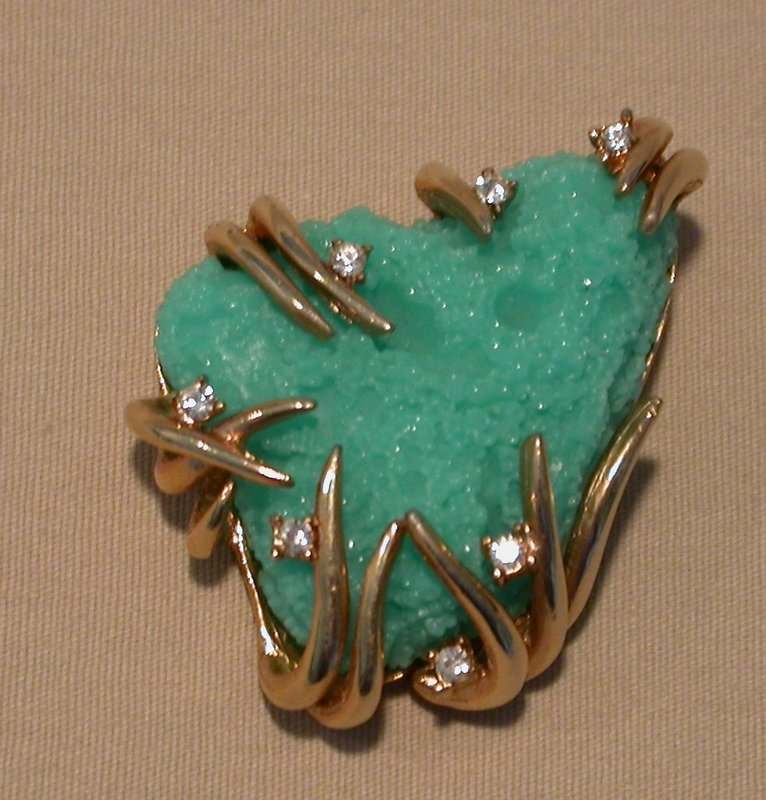 BOUCHER TURQUOISE GLASS BROOCH
